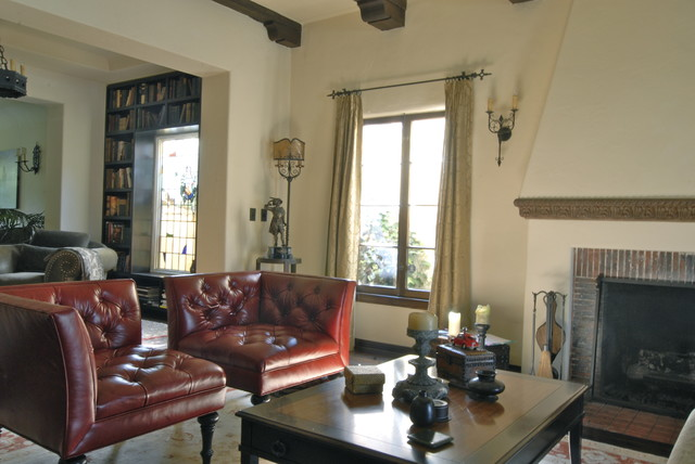 tufted leather chair Living Room Mediterranean with CategoryLiving RoomStyleMediterraneanLocationLos Angeles