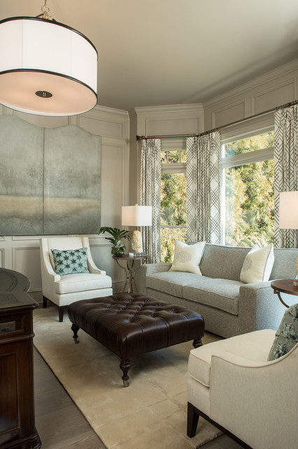 Tufted Ottoman Coffee Table Family Room Transitional with Area Rug Atlanta Homes