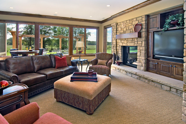 tuftex carpet Family Room Traditional with ceiling lighting crown molding