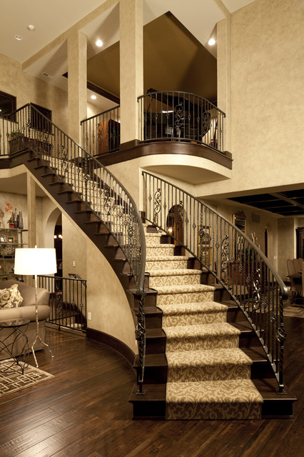 Tuftex Carpet Staircase Traditional with Banister Carpet Runner Dark