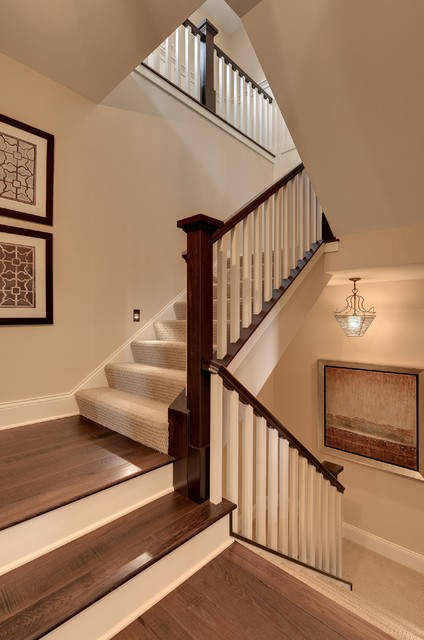 Tuftex Carpet Staircase Traditional with Beige Painted Wall Carpet