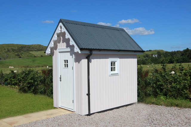 Tumbleweed Tiny House Company Garage and Shed Victorian with Barge Board Corrugated Metal