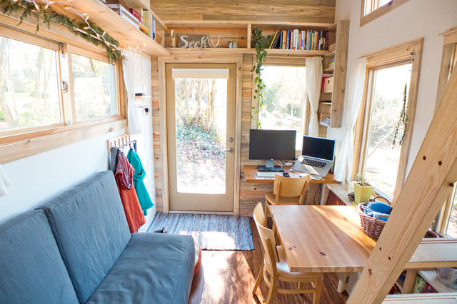 Tumbleweed Tiny House Company Living Room Contemporary with Banquette Seating Bookshelves Caravan