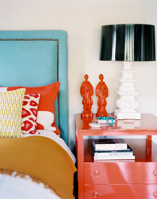 Turquoise Duvet Cover Bedroom Eclectic with Accent Colors Bedside Table