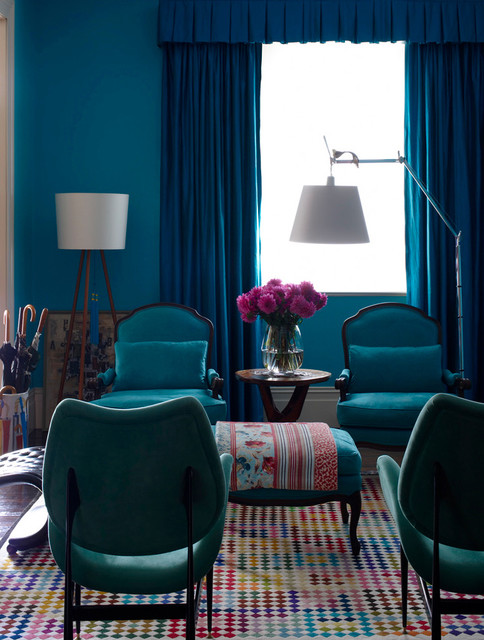 Turquoise Lamp Shade Living Room Eclectic with Area Rug Blue Walls