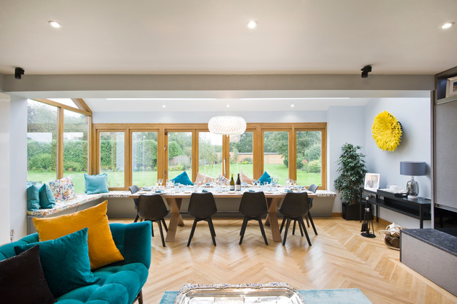 Turquoise Throw Pillows Dining Room Contemporary with Bespoke Black Dining Chairs
