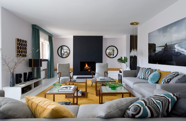 turquoise throw pillows Living Room Contemporary with alfombras black fireplace checkered