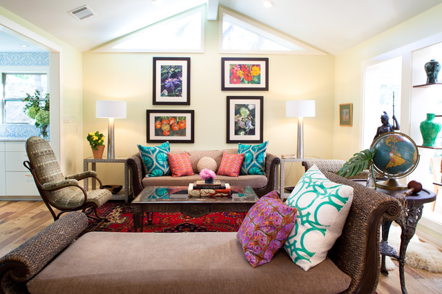 Turquoise Throw Pillows Living Room Eclectic with Brown Cushion Clerestory Window1