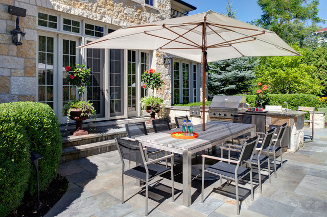 Tuuci Umbrella Patio Transitional with Bbq Eight Dining Chairs