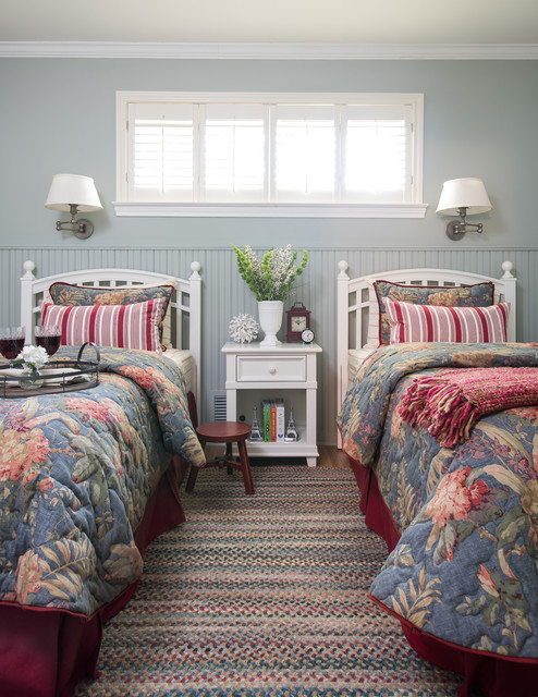 Twin Bedspreads Bedroom Traditional with Bead Board Wainscot Beadboard