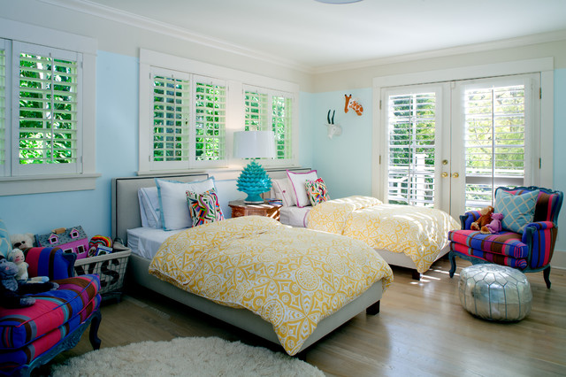 Twin Bedspreads Kids Traditional with Blue Wall Double Door