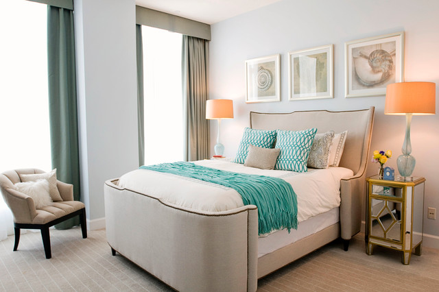 Twin Day Bed Bedroom Contemporary with Beach Bedding Blue Cream