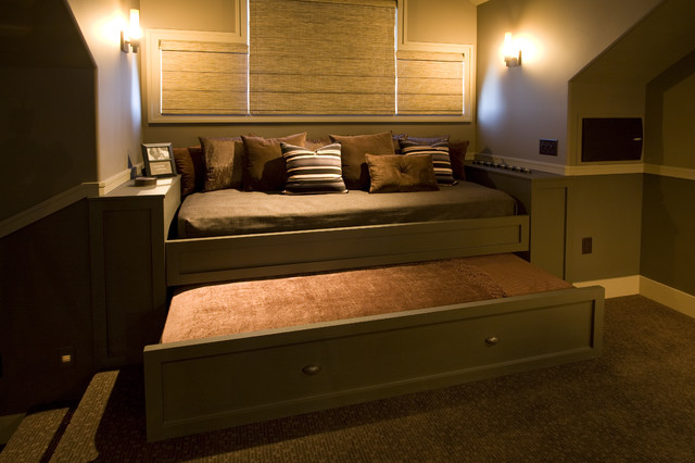Twin Day Bed Home Theater Traditional with Built in Custom Cabinetry Day