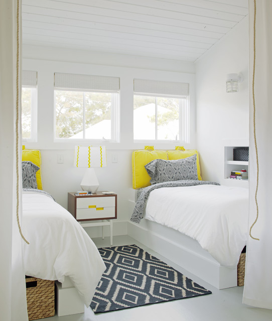 twin loft bed with desk Bedroom Transitional with airy beach house bead