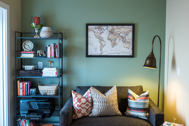 Twin Sleeper Sofa Home Office Eclectic with Accent Wall Bookcase Decorative