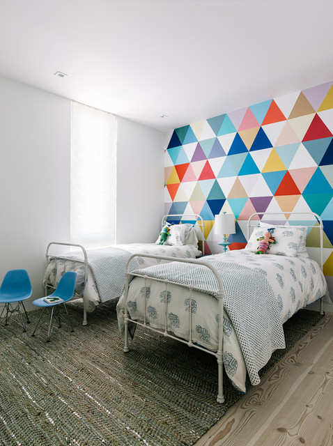 twin xl bed frame Kids Contemporary with city colorful mural colorful