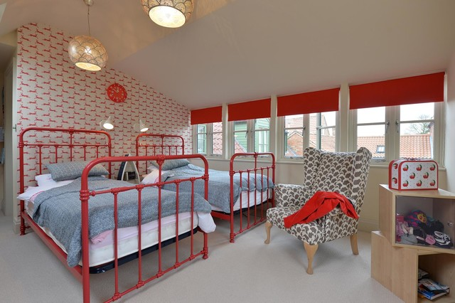Twin Xl Bed Frame Kids Traditional with Armcahair Bedroom Bright Red