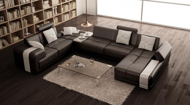 U Shaped Sectional Sofa Living Room Modern with Black and White Leather