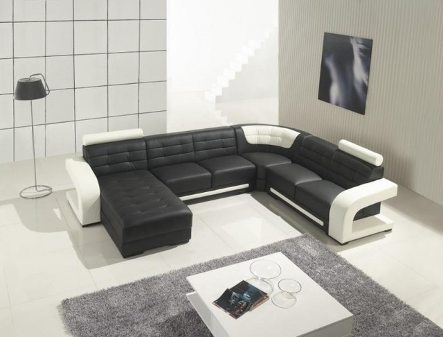 U Shaped Sectional Sofa Living Room Modern with Black and White Sectional