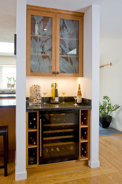 Uline Wine Cooler Kitchen Transitional with Black Granite Counter Top Cherry