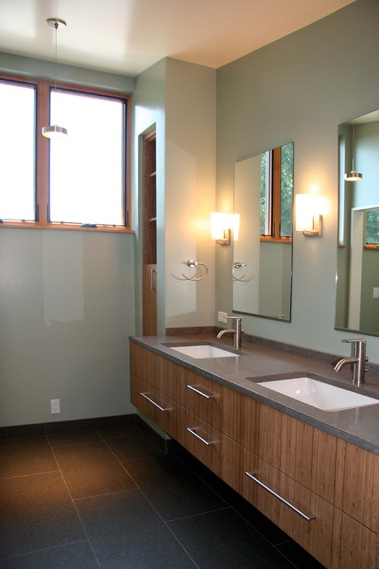 Undermount Bathroom Sinks Bathroom Contemporary with Built in Storage Cement Counter