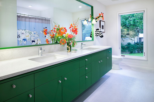 Undermount Bathroom Sinks Bathroom Contemporary with Framed Mirror Mid Century