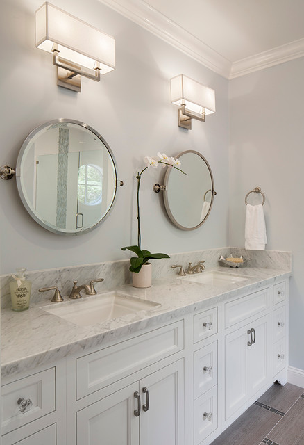 Undermount Bathroom Sinks Bathroom Transitional with Double Vanity Gray Floor