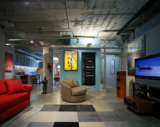Unfinished Basement Ideas Home Theater Industrial with Blue Wall Concrete Ceiling