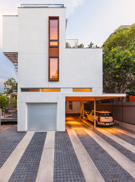Unilock Pavers Garage and Shed Contemporary with Boxy Covered Carport Fence