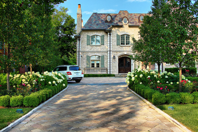 Unilock Pavers Landscape Traditional with Bluestone Driveway Boxwood Garden
