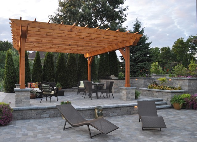 Unilock Pavers Patio Contemporary with Bushes Elevated Patio Multi Level