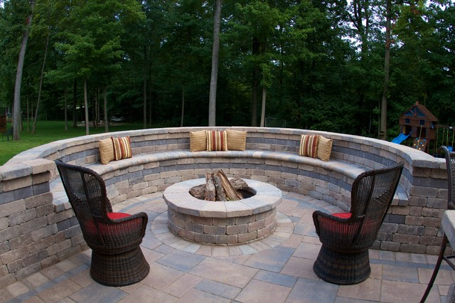 unilock pavers Patio Traditional with bench seating brick bench