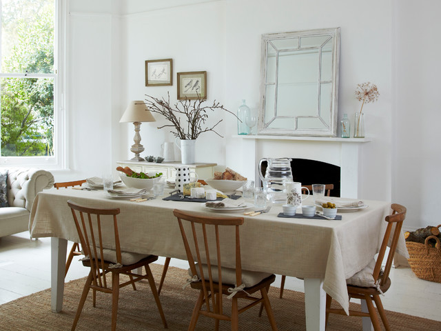Unscented Candles Dining Room Scandinavian with Beige Lining Tablecloth Beige