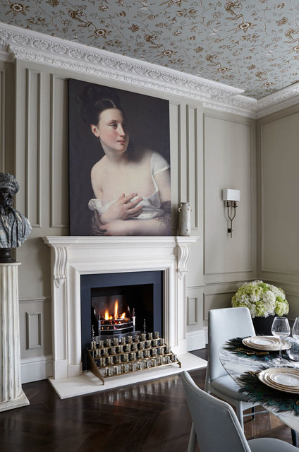 Unscented Candles Dining Room Traditional with Art Artwork Cornice Cornices