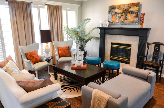 Upholstered Daybed Living Room Eclectic with Art Above Fireplace Artwork