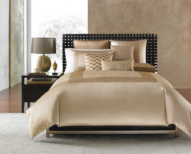 Upholstered Platform Bed Bedroom Contemporary with Hotel Collection Linen Luxury