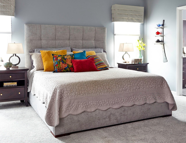 Upholstered Platform Bed Bedroom Transitional with Bedding Carpet Colorful Pillows