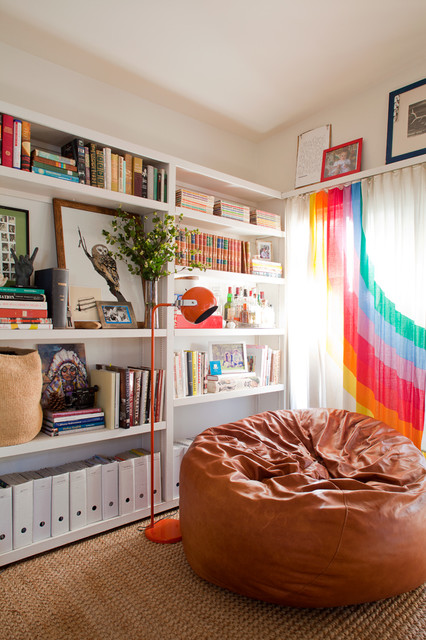 Urban Outfitters Curtains Living Room Eclectic with Book Shelves Brown Leather