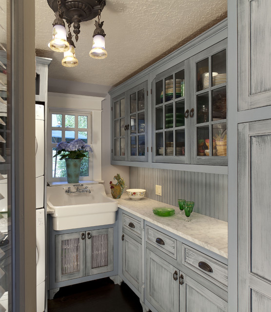 Utility Sink Cabinet Kitchen Traditional with Beadboard Blue Cabinets Ceiling