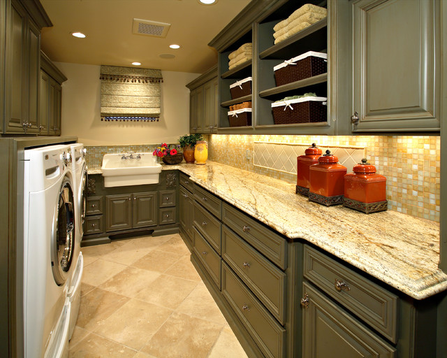 Utility Sink Cabinet Laundry Room Traditional with Beige Roman Shade Beige