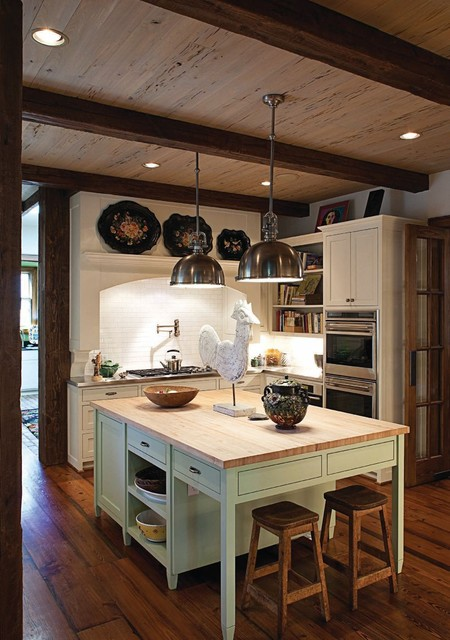 uttermost lighting Kitchen Traditional with beams butcher block countertop