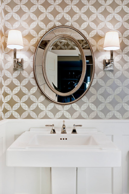 uttermost lighting Powder Room Traditional with beveled mirror pedestal sink