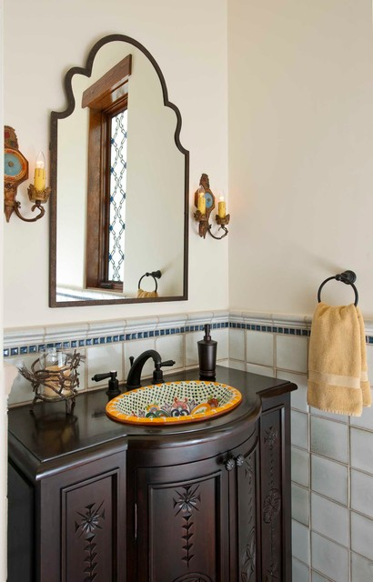 Uttermost Mirrors Powder Room Mediterranean with Old Spanish Style Painted