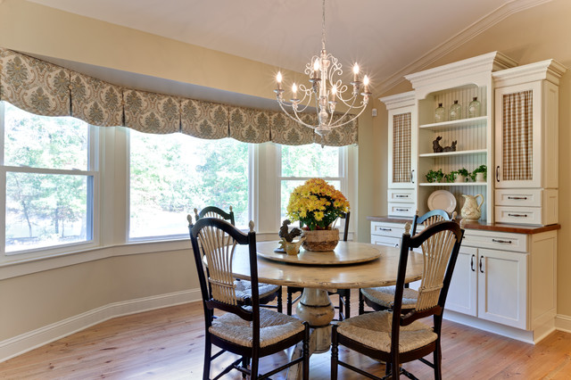 valance ideas Dining Room Farmhouse with antique white chandelier columns