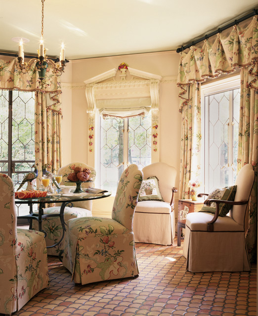 Valance Ideas Dining Room Traditional with Brick Floor Chair Chandelier1