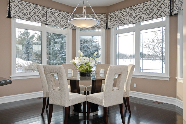valance patterns Dining Room Contemporary with bay black and white