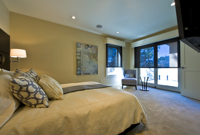 Valences Bedroom Contemporary with Art Bed Beige Carpeting