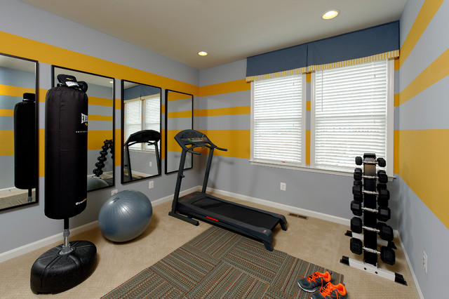 Van Metre Homes Home Gym Traditional with Carpet Tiles Recessed Lighting