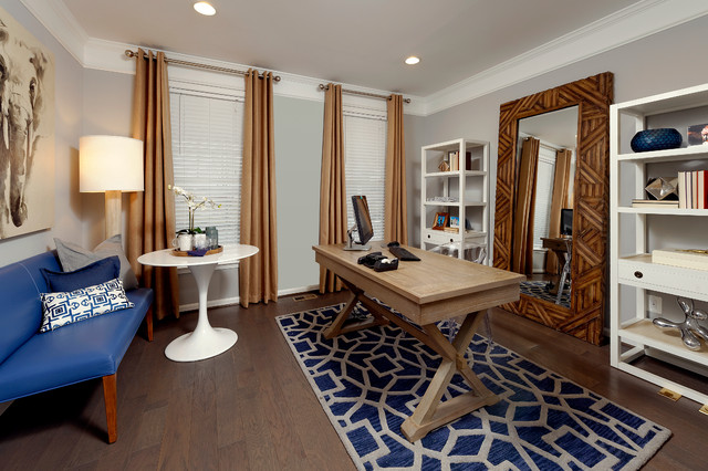 Van Metre Homes Home Office Traditional with Artwork Blue and Gray