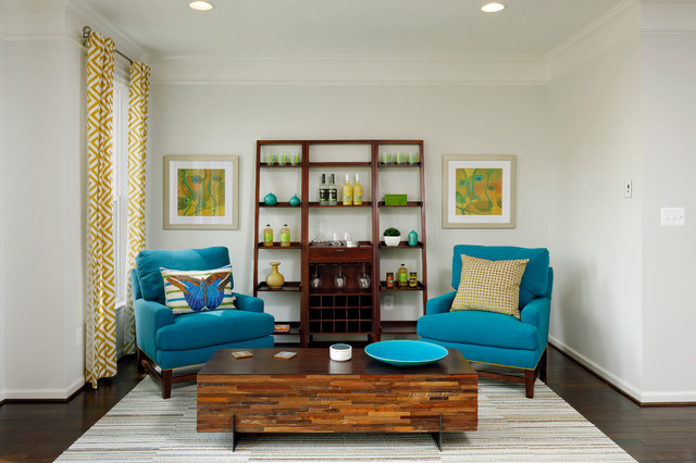 Van Metre Homes Living Room Traditional with Bright Blue Chairs Yellow